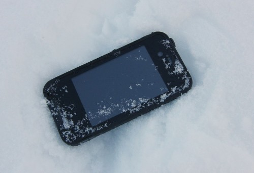 Shane's iPhone in LifeProof case in the snow