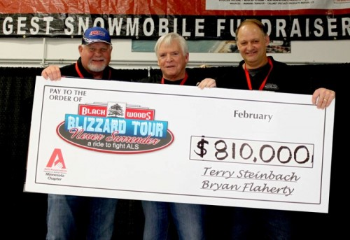 Ron Gardenhire, Bryan Flaherty and Terry Steinbach hold up the fund rasing check.
