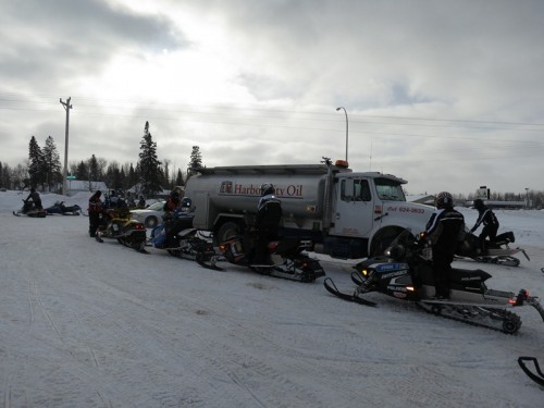 Sponsors provided gas and oil for the riders' sleds.