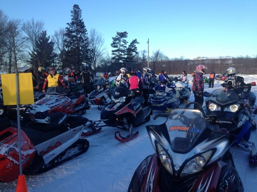 Staging sleds on Saturday for the day's ride.