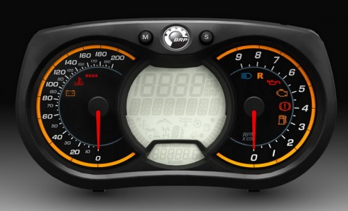 Ski-Doo's gauge looks hot and the center LCD shows plenty of information.