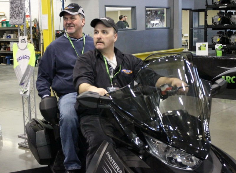 You won't see this on the trail. Senior Editor, Larry Kaduce and Test Pilot, Randy Nemitz, two-up on the same sled.