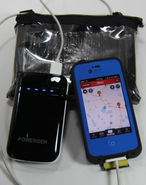 The PowerGen 9000 will recharge your iPhone 4-5 times, or last all day with it plugged in and using the GPS.