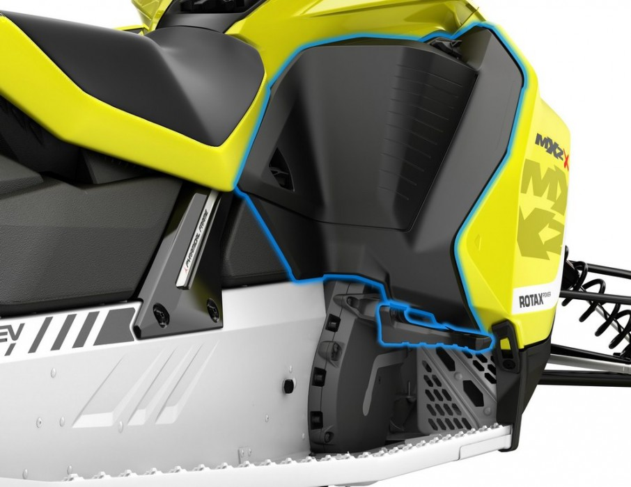 The rear of the side panels on the MXZ and Renegade models have a stepped design with three natural positions. The most extreme position enables the rider to get far forward to corner like never before.