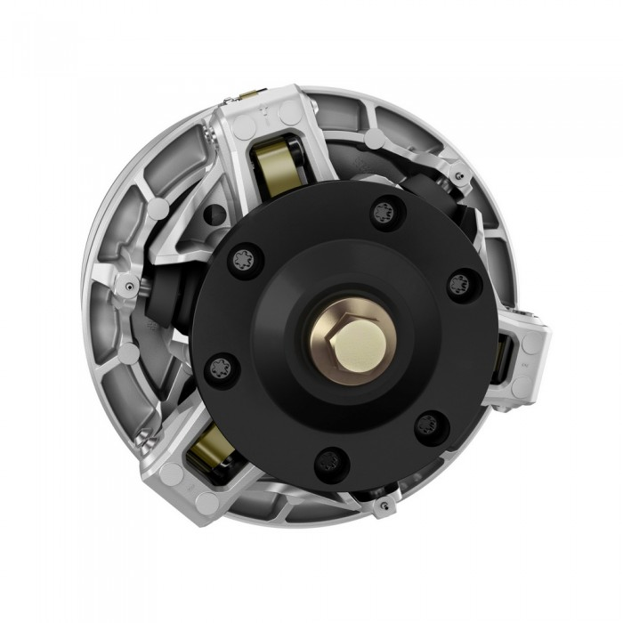 The new pDrive driven clutch was designed with the 850 E-TEC as part of its dynamic response and narrow powerpack mandate. The hallmark of its design are friction-free rollers instead of sliders to transfer torque. It reacts very quickly, with 30% less rotational inertia compared to the TRA.