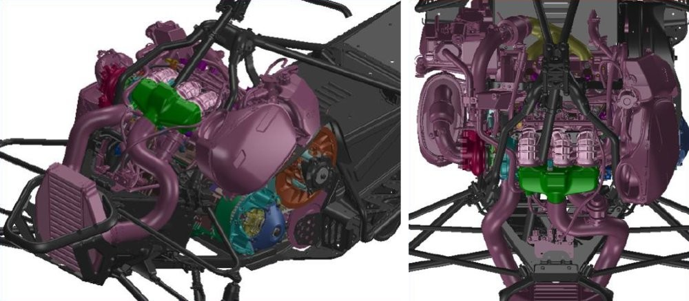 The unique rear facing engine mounting and compact chassis layout results in a more centralized mass. Compressed air is routed through a lightweight, aluminum 'air to air' intercooler, reducing its temperature for increased air density at the intake. A new heat exchanger based, engine cooling system was developed along with highly functional new body panels. Engine and turbo heat is well managed with ample air-flow to the drive system and intake for maximum durability and performance.